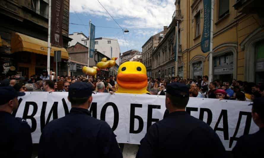 A protest against the Belgrade Waterfront project in April.
