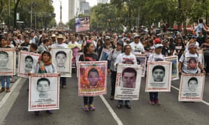 A demonstration in Mexico City on 26 September, the fourth anniversary of the disappearance.