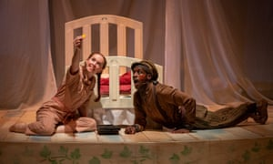 Ready to fly … Vanessa Schofield (Wendy) and Baker Mukasa (Peter Pan) in Peter Pan