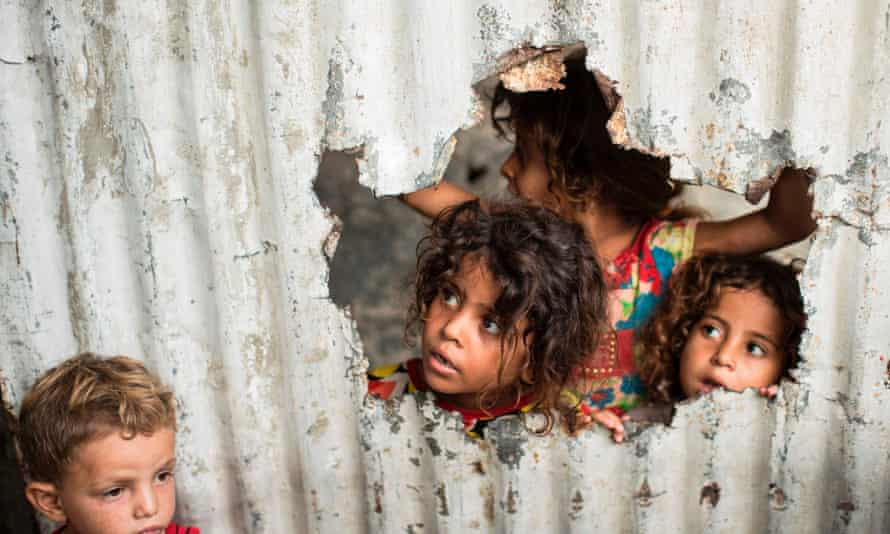 Palestinian in a poor neighbourhood in Gaza City