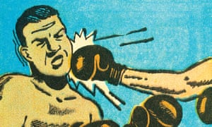 A cartoon of a man being punched in the face in a boxing match