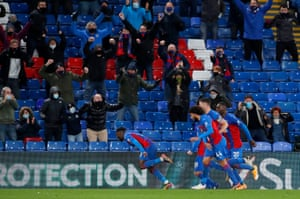 Schlupp celebrates in front of the jovial Palace fans