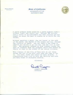 Letter from Ronald Reagan, then the governor of California, to a library in Troy, Michigan