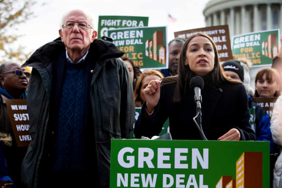 Bernie Sanders and Alexandria Ocasio-Cortez campaigning for a Green New Deal in Washington DC in November 2019.
