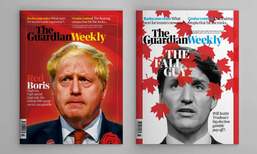 The covers of the UK/ROW and North American 17 September editions of the Guardian Weekly.