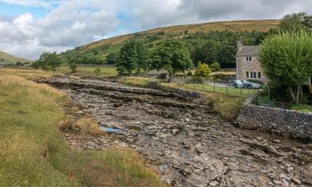 The empty River Skirfare in Littondale, Yorkshire Dales.