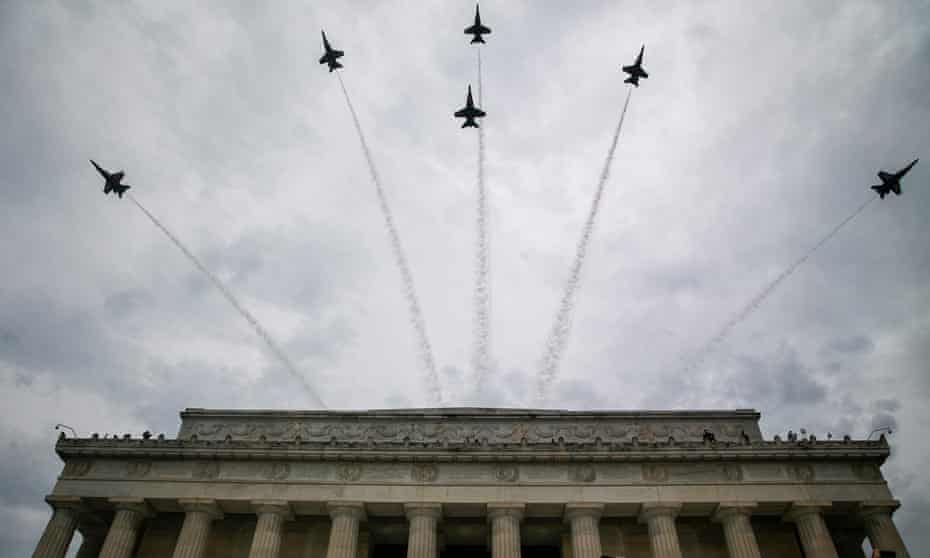Blue Angel fighter jets fly over the Lincoln Memorial in Washington DC on 4 July 2019.