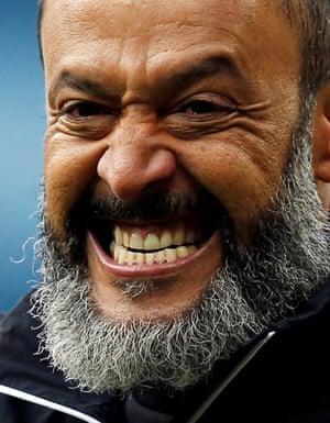 Wolves manager Nuno Espírito Santo celebrates beating the champions.
