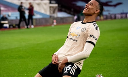 Mason Greenwood after scoring his eighth Premier League goal of the season for Manchester United in their 3-0 victory at Aston Villa.