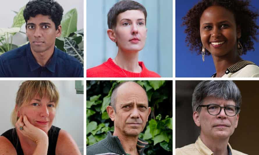 The shortlisted authors: Anuk Arudpragasam, Patricia Lockwood, Nadifa Mohamed, Maggie Shipstead, Damon Galgut and Richard Powers