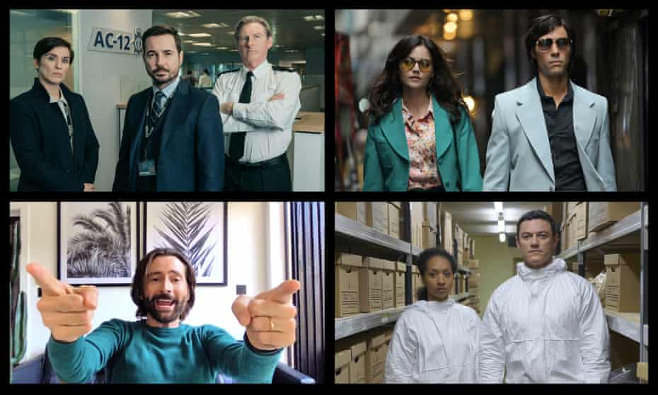 Clockwise from top left: Line of Duty, The Serpent, The Pembrokeshire Murders and Staged are all airing this year.