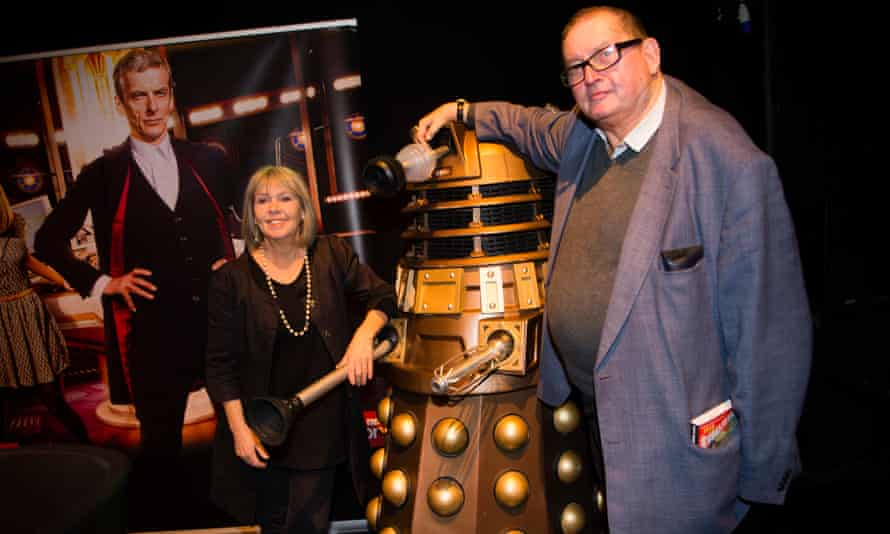 Terrance Dicks, right, at a Doctor Who convention in 2015 with Wendy Padbury who played the Doctor's companion, Zoe Heriot, in the Patrick Troughton era.