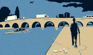 Illustration of man walking next to Thames in Maidenhead