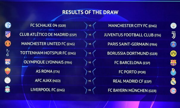Champions League last 16 draw: Man Utd face PSG, Liverpool v Bayern