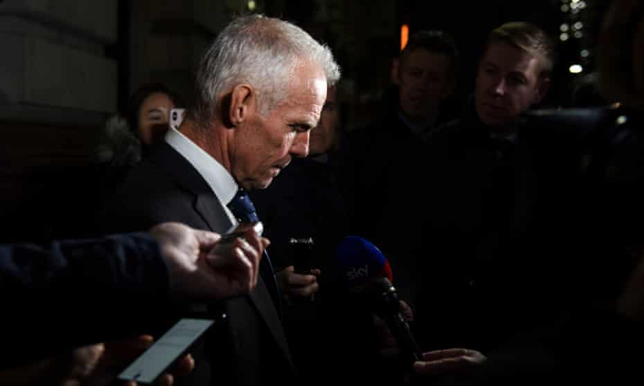 Shane Sutton speaks to the media outside the medical tribunal.