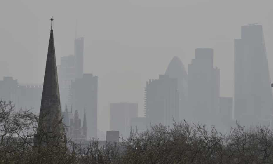 Air pollution obscures the City of London skyline, as seen from Primrose Hill in the north of the capital.