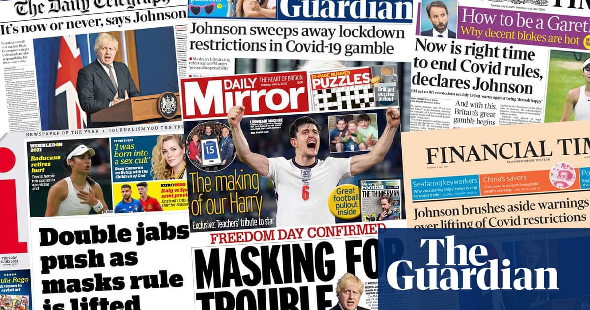 'Masking for trouble': what the papers say about Johnson lifting Covid restrictions
