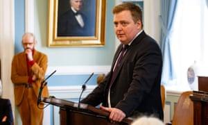 Iceland's prime minister Sigmundur Davíð Gunnlaugsson speaks in parliament on Monday.