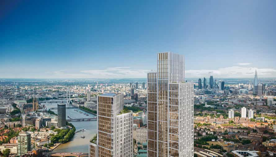 An artist's impression of the proposed One Nine Elms development in London.