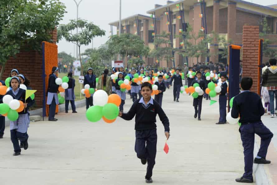 Schoolchildren on campus at the VidyaGyan leadership academy in Bulandshahr, Uttar Pradesh, India.