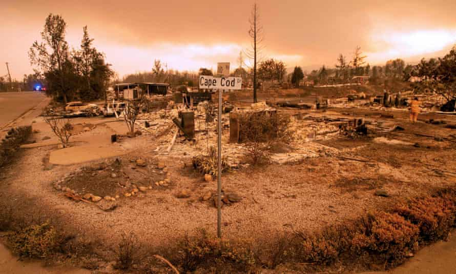 Burned-out properties near the Lake Keswick Estates area during the Carr fire in Redding on Friday.