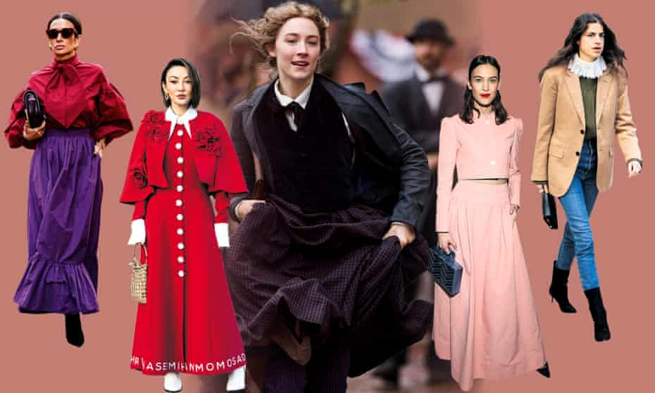 Little Women-influenced street style at Paris fashion week (left and second left); Saoirse Ronan as Jo March (centre); and Alexa Chung (second from right) and the Man Repeller founder Leandra Medine (right) get the look.