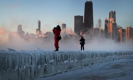 Sunrise in Chicago, Illinois, as temperatures plunged to Arctic levels