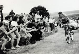 Jacques Anquetil wears the yellow jersey at the Tour de France in 1963.