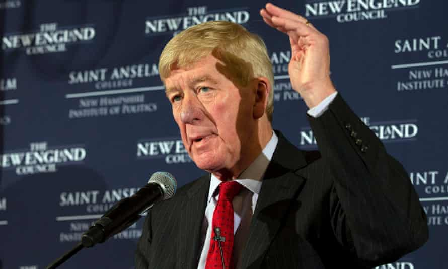 Bill Weld speaks at the Politics and Eggs breakfast at the Bedford Village inn in Bedford, New Hampshire on 15 February.