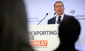 Liam Fox delivers a speech on the future of exports from the UK after Brexit in London