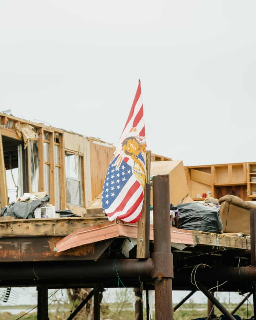 A flag still flew on a home that received significant damage from Hurricane Ida.
