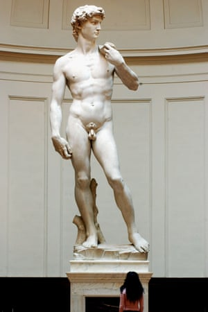 Michelangelo's David at the Accademia gallery in Florence.