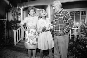 On set of The Doris Day Show with co-stars Fran Ryan and Denver Pyle in 1968