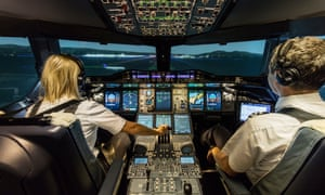 Back down to earth: in the cockpit of a British Airways A380.