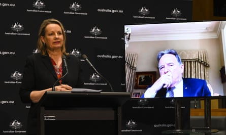 Australian environment minister Sussan Ley and Prof Graeme Samuel (on screen), who is reviewing the EPBC Act, speak to the media