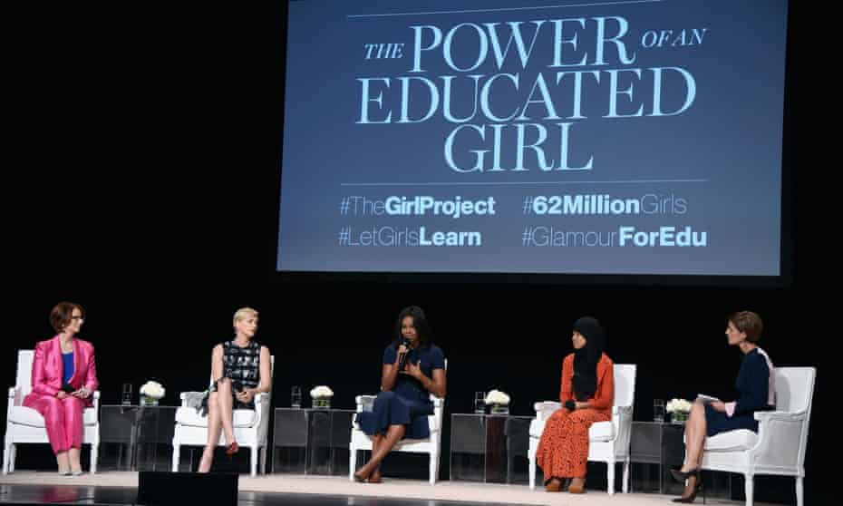 Glamour's editor-in-chief leading a panel discussion with Julia Gillard, Charlize Theron, Michelle Obama and Nurfahada