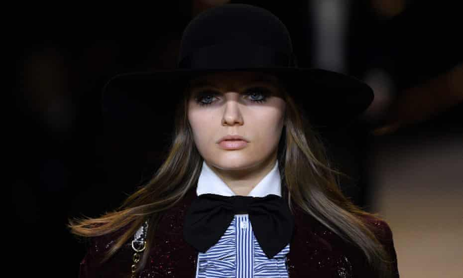 A model presents a creation for Celine during the Women's Fall-Winter 2020-2021 Ready-to-Wear collection fashion