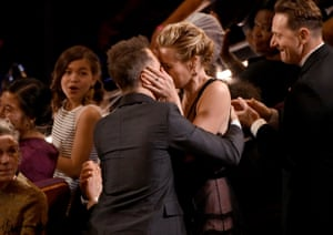 Actor Sam Rockwell celebrates with Leslie Bibbafter being called out for Best Supporting actor