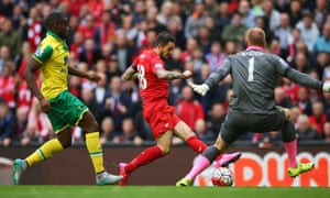 Substitute Danny Ings made a positive impact for Liverpool, scoring the opening goal as Brendan Rodgers' team drew 1-1 with Norwich at Anfield.