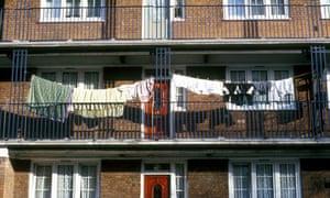 Washing outside flats, council housing estate, Limehouse, east London