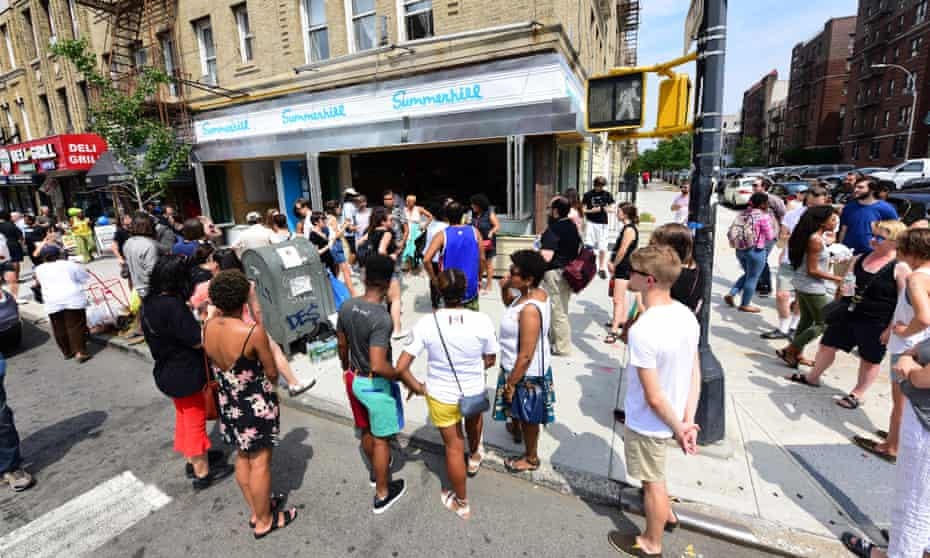 More than 100 people gathered last week to protest gentrification outside a new restaurant in Crown Heights.