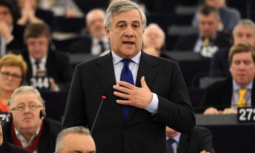 Antonio Tajani at the European parliament