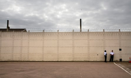 One of the perimeter walls in Wandsworth prison