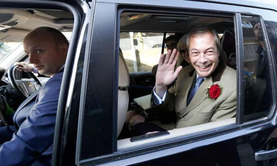 Ukip leader Nigel Farage eaves after voting in Ramsgate.