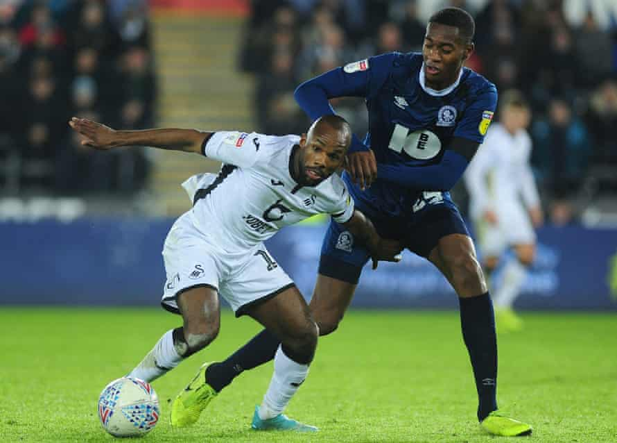 Tosin Adarabioyo, in action for Blackburn against Swansea, says the Championship is 'tough but enjoyable'.