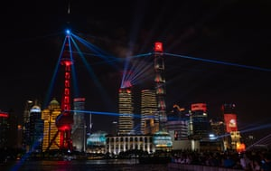 Buildings on the Bund  in Shanghai, the Chinese communist party's birthplace, during a light show marking the 100th anniversary