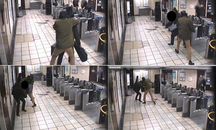 The CCTV footage shows passenger Lyle Zimmerman being attacked by Muhiddin Mire at Leytonstone station on 5 December 2015.