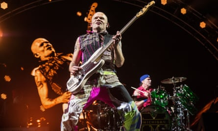 Red Hot Chili Peppers' Flea at the Rock on the Range music festival, in Columbus, Ohio on 22 May 2016
