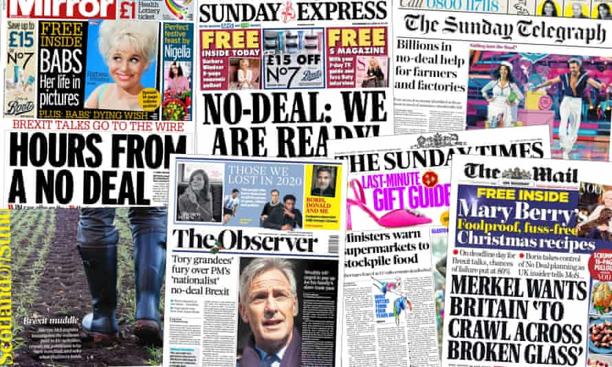 The Sunday papers were dominated by Sunday's latest Brexit talks deadline.