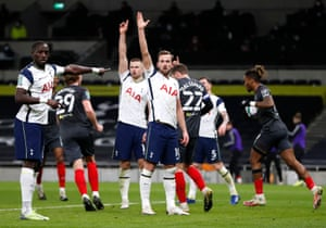 Tottenham Hotspur's Harry Kane appeals after Brentford's Ivan Toney scored a goal which is later disallowed for offside.